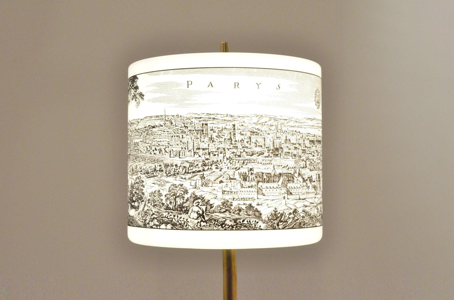 italienische moderne mid century tischlampe mit bedrucktem. Black Bedroom Furniture Sets. Home Design Ideas