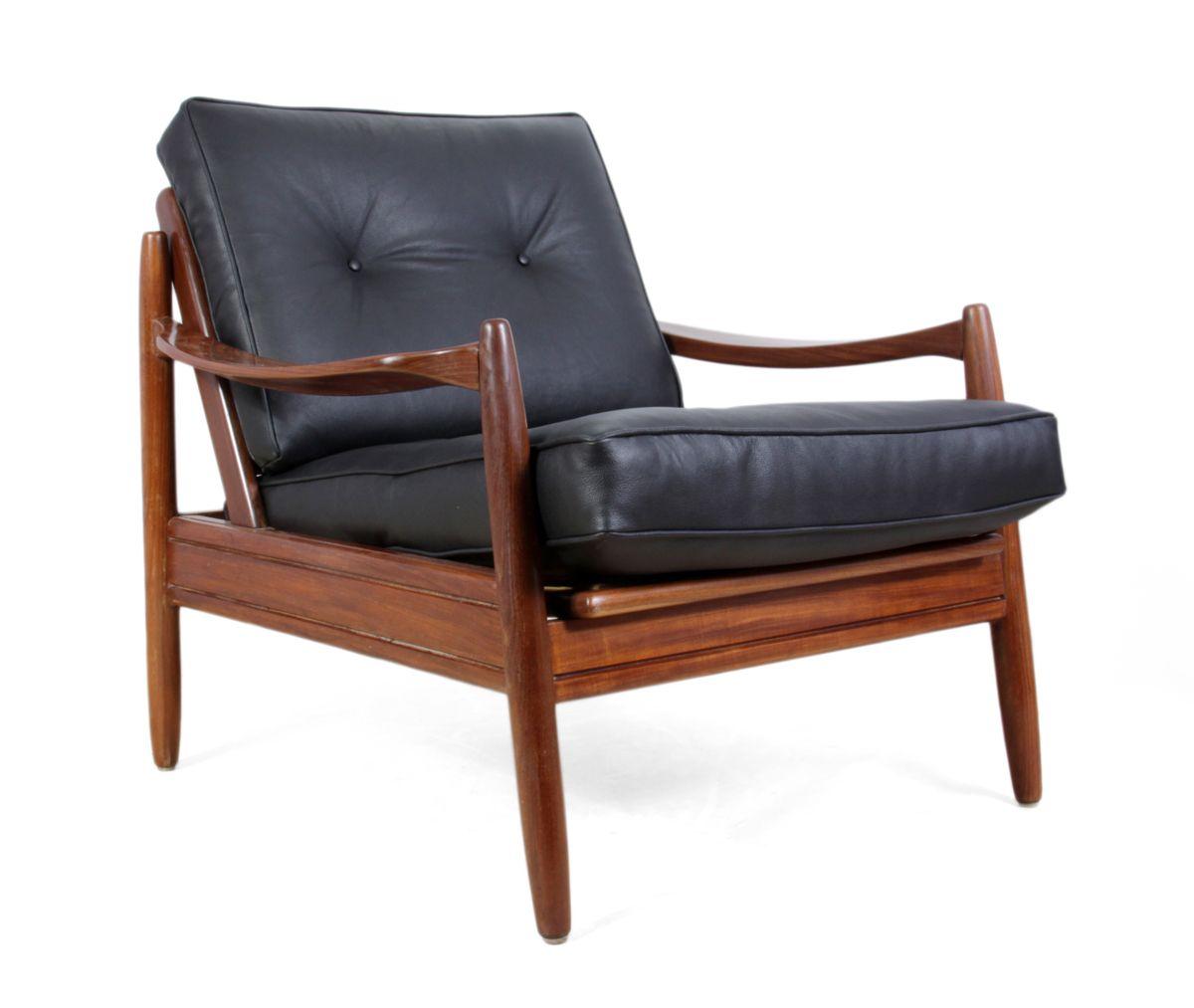 Mid-Century Danish Teak Framed Leather Armchairs, 1960s
