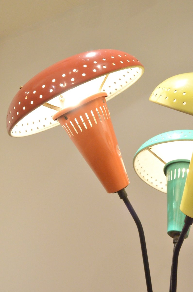 Italian Tricolor Metal Mushroom Shaded Floor Lamp 1950s