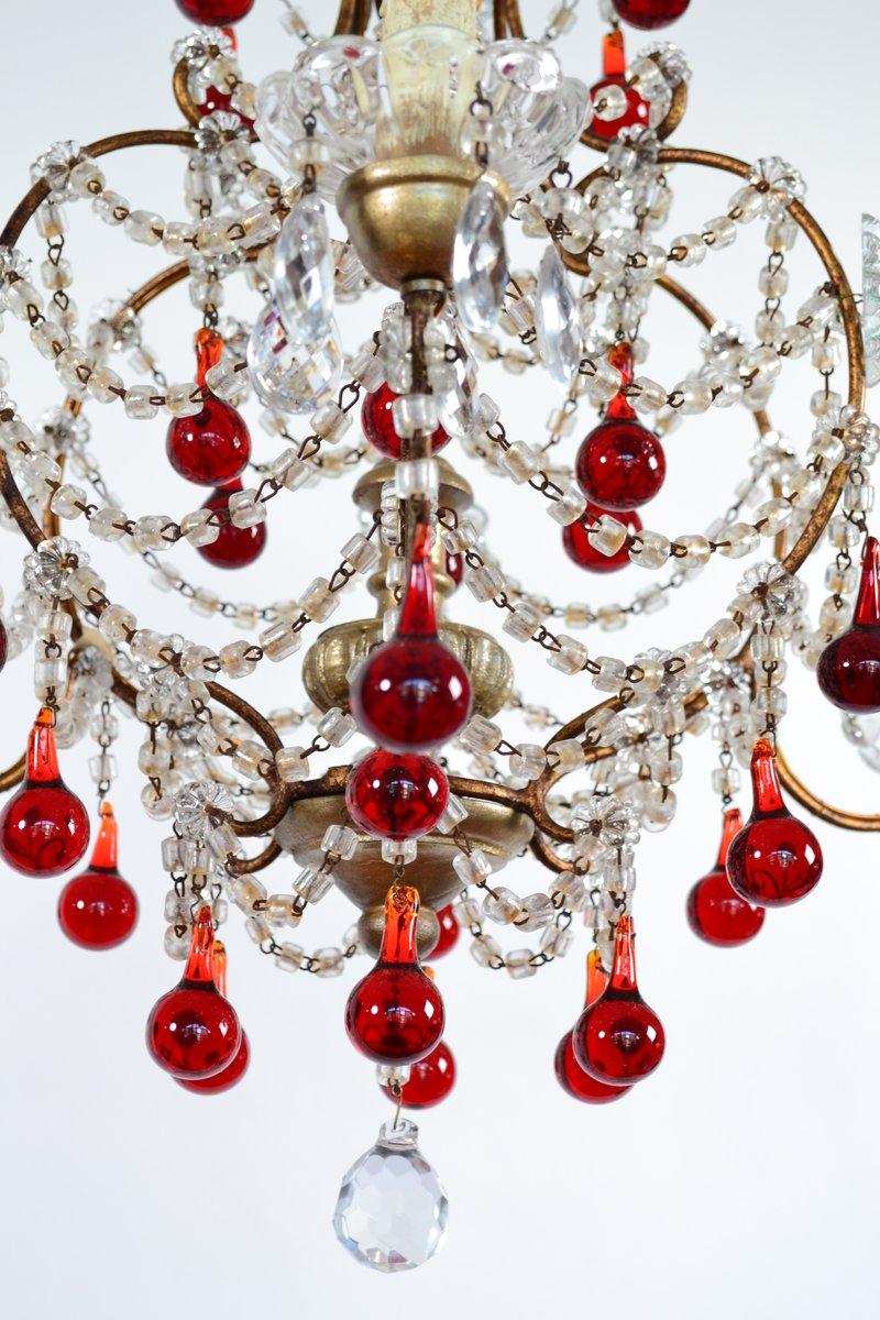Italian Murano Glass Drop Chandelier 1950s for sale at Pamono – Red Murano Glass Chandelier
