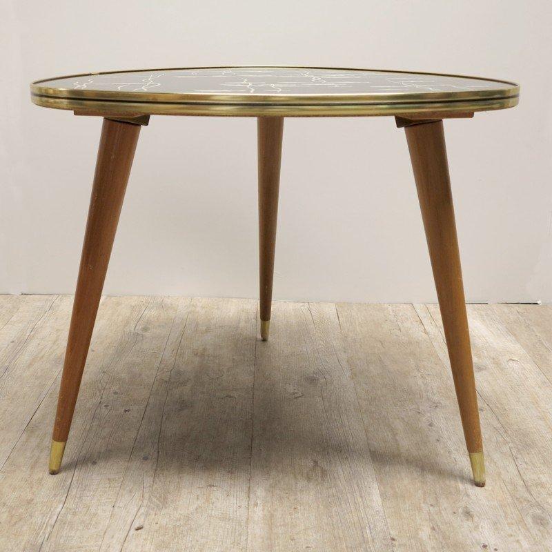 dreieckiger mid century tisch aus glas holz mit fischmotiv bei pamono kaufen. Black Bedroom Furniture Sets. Home Design Ideas