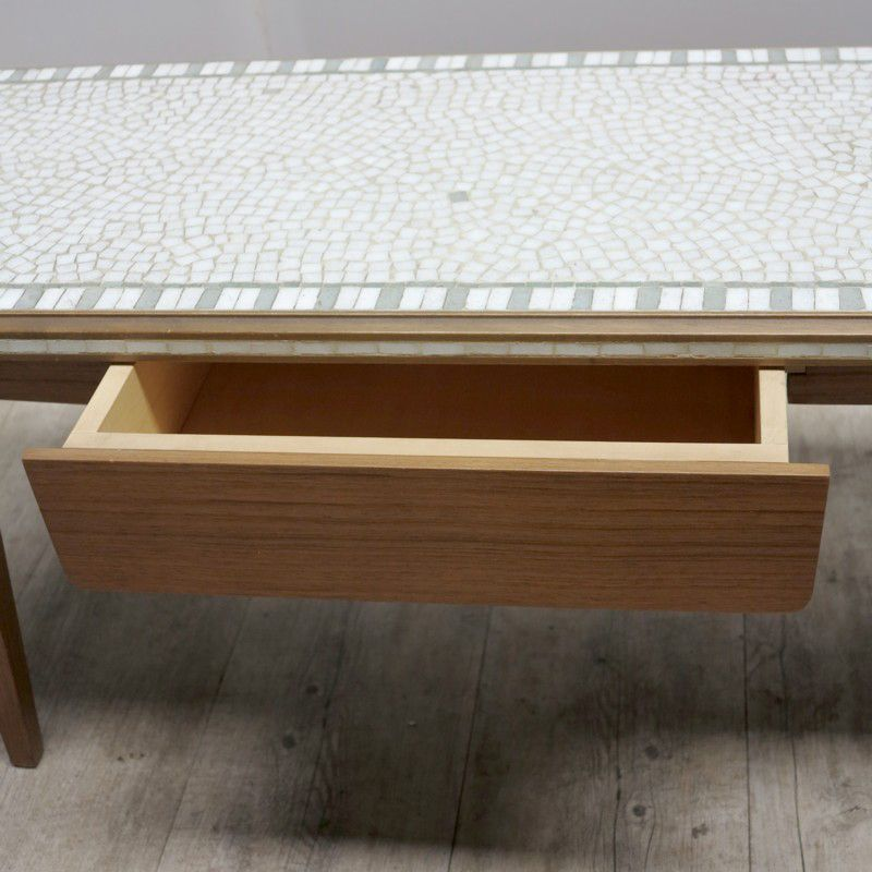 deutscher vintage mosaik tisch mit schublade 1950er bei. Black Bedroom Furniture Sets. Home Design Ideas