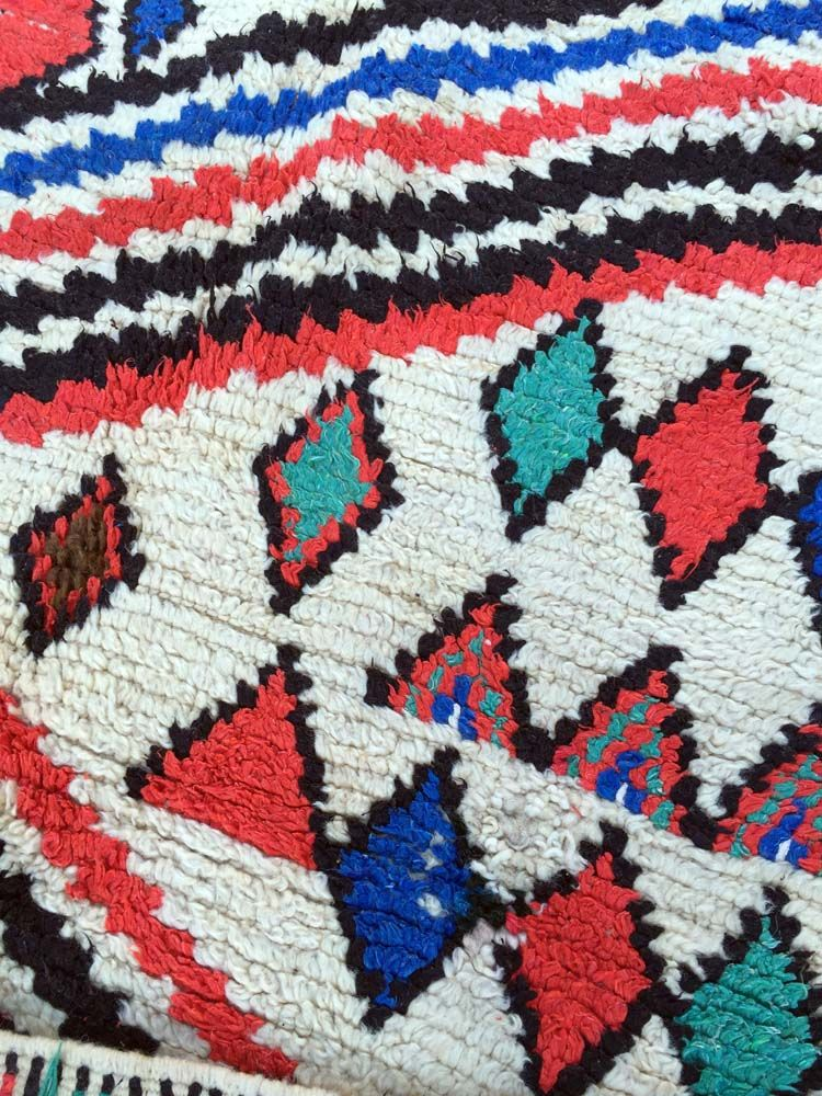 Vintage Moroccan Multi Colored Azilal Rug 1970s For Sale