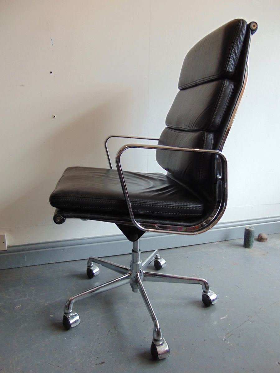 Vintage Italian High Back Soft Pad Leather Office Chair By
