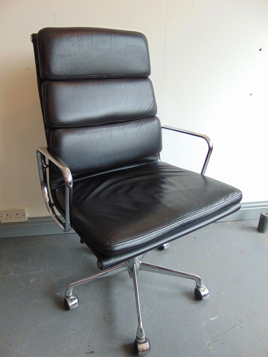 italian high back soft pad leather office chair by charles eames