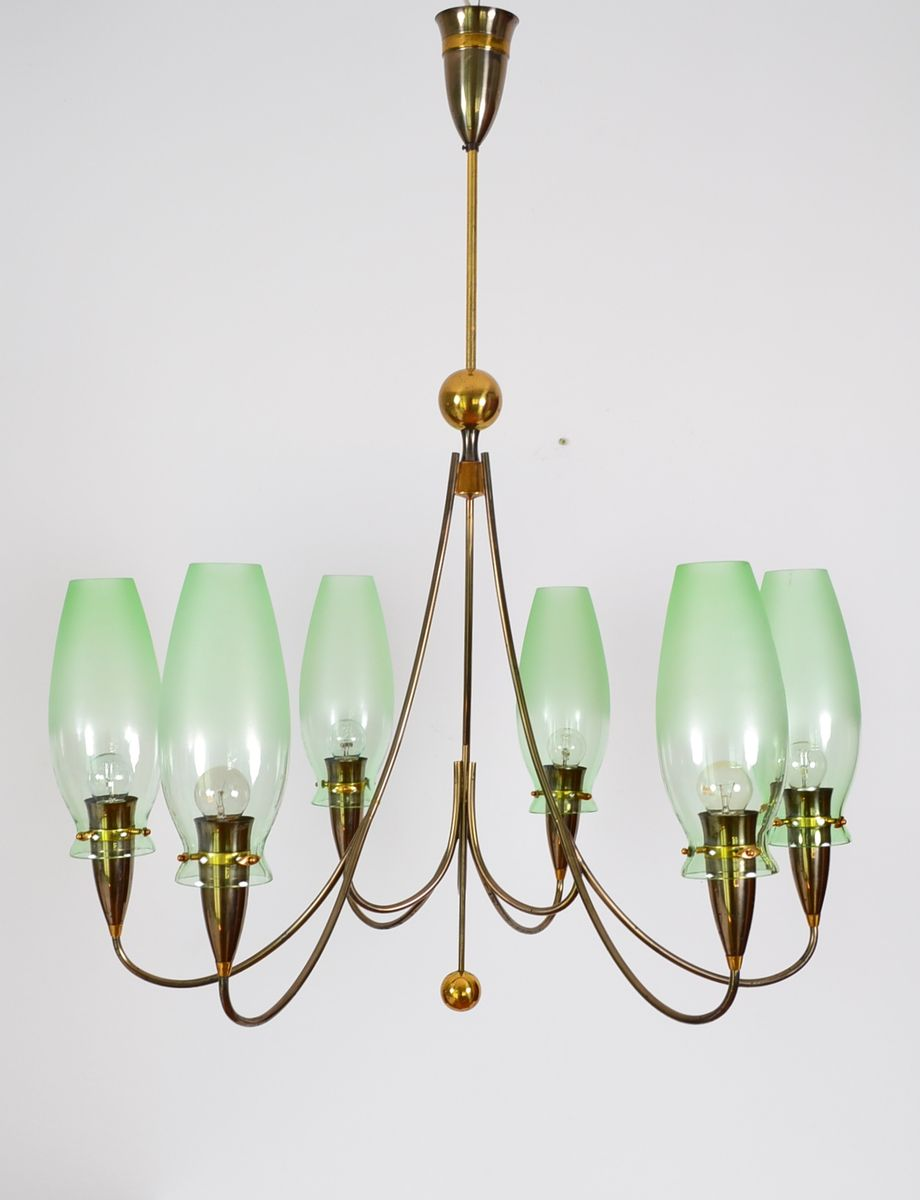Brass Green Glass Chandelier 1980s for sale at Pamono – Brass and Glass Chandelier