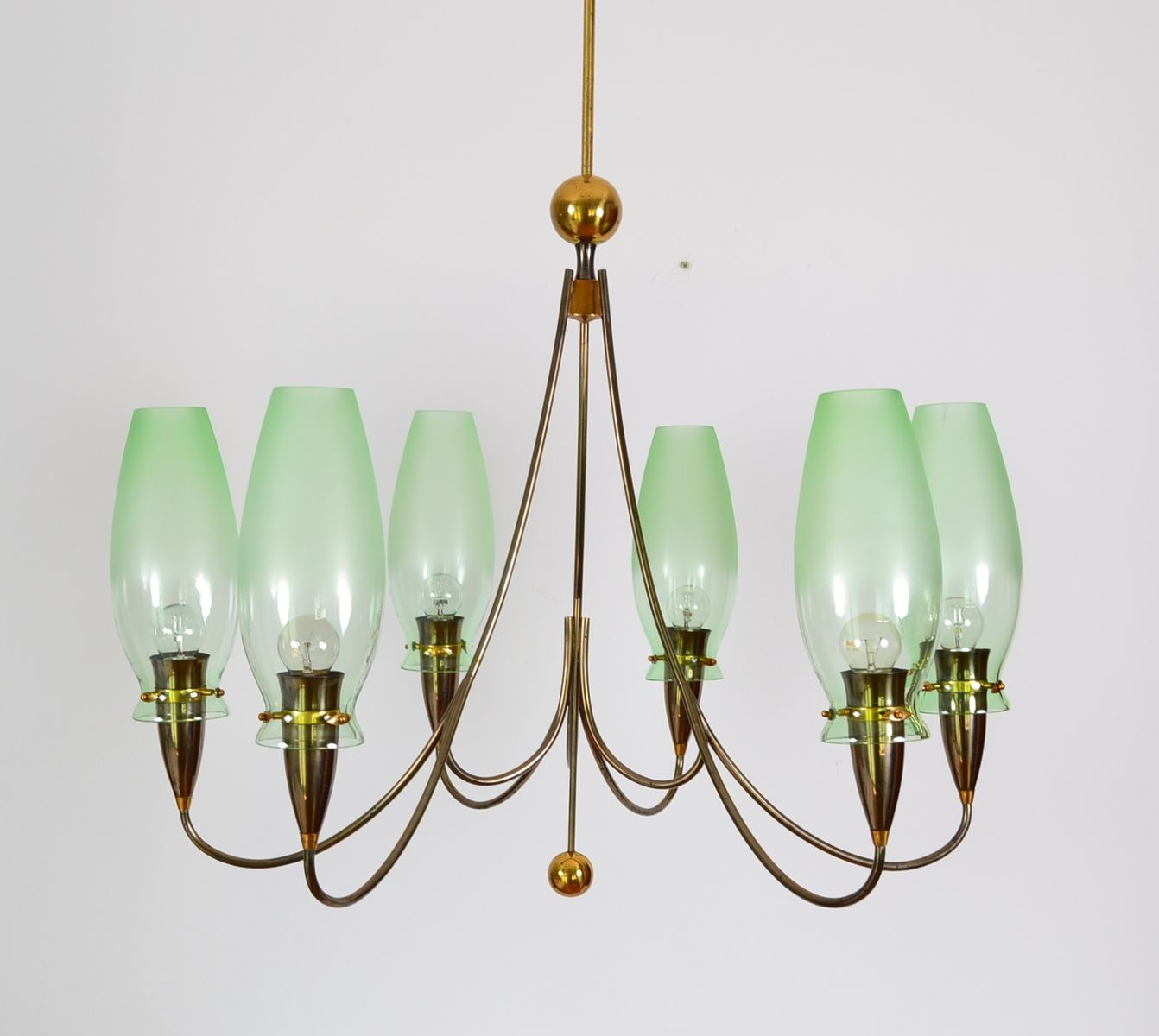 Brass Amp Green Glass Chandelier 1980s For Sale At Pamono