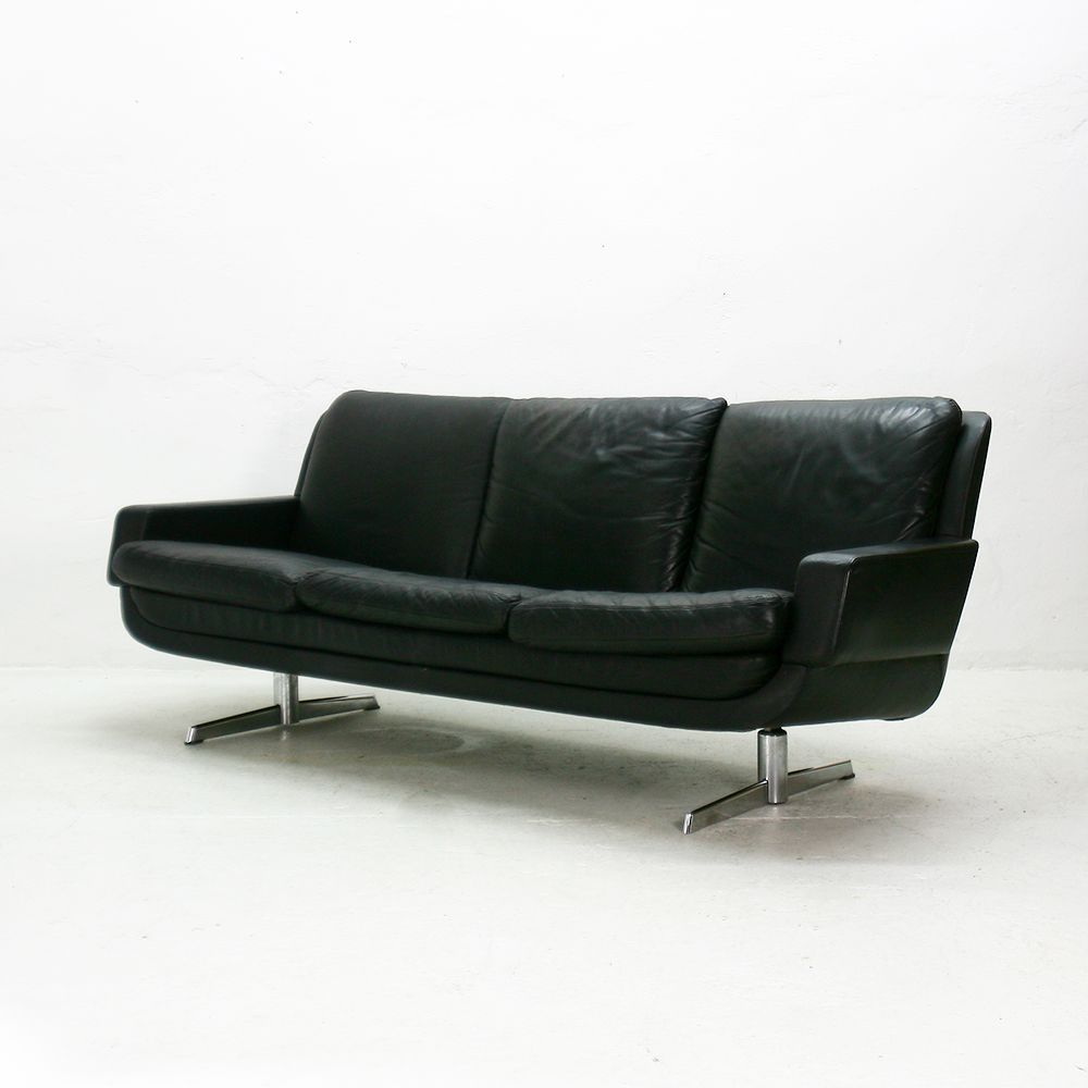 Vintage Nappa Leather Three Seater Lounge Sofa For Sale At Pamono