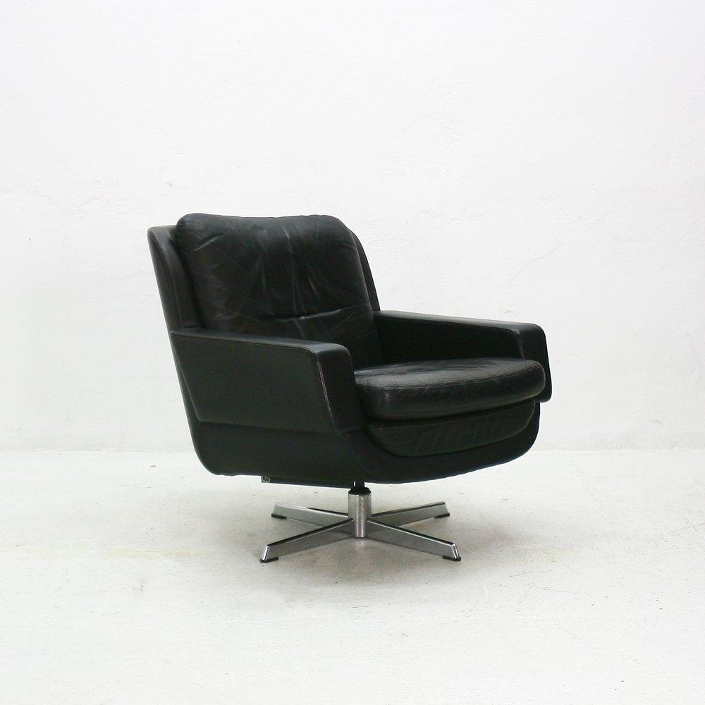 deutscher vintage drehsessel aus leder bei pamono kaufen. Black Bedroom Furniture Sets. Home Design Ideas