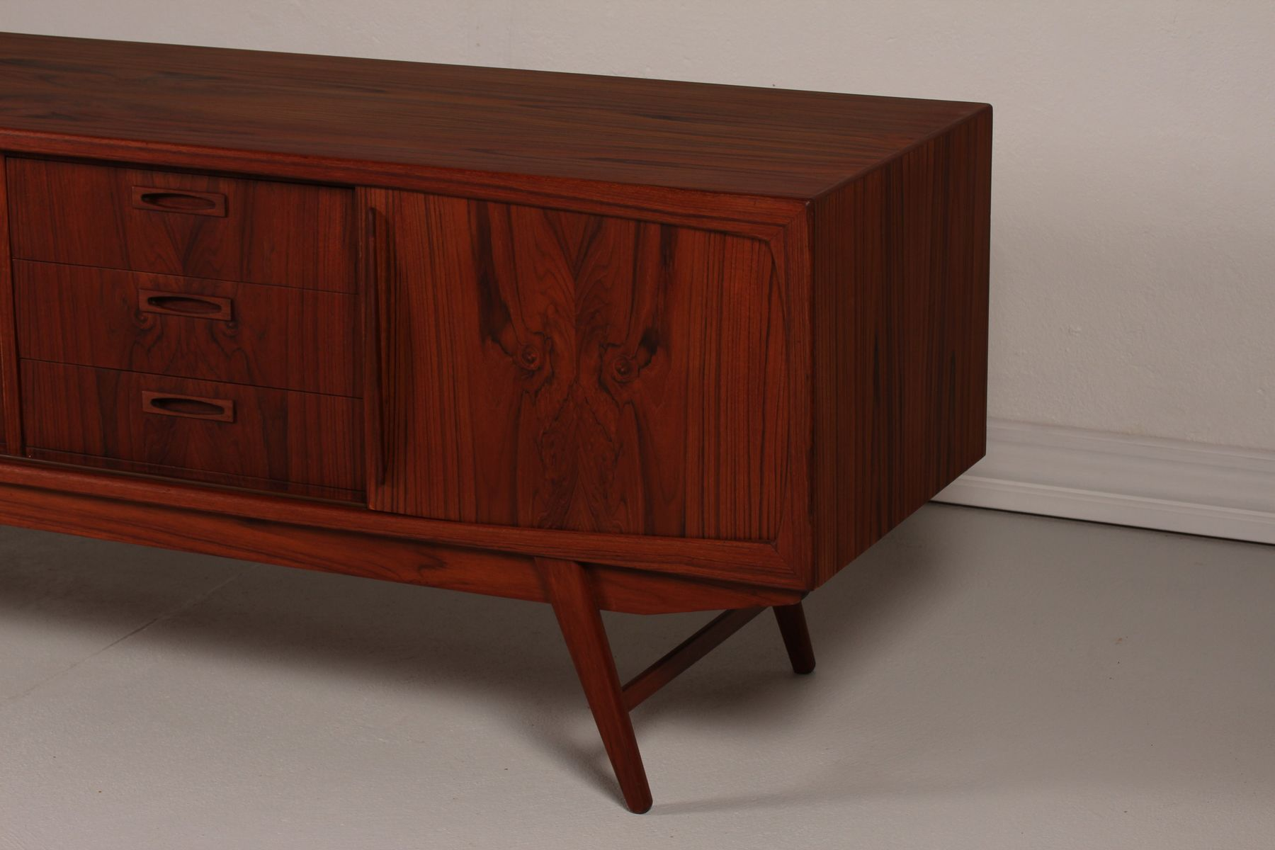 Danish long and low teak sideboard 1950s for sale at pamono for 1950 s credenza