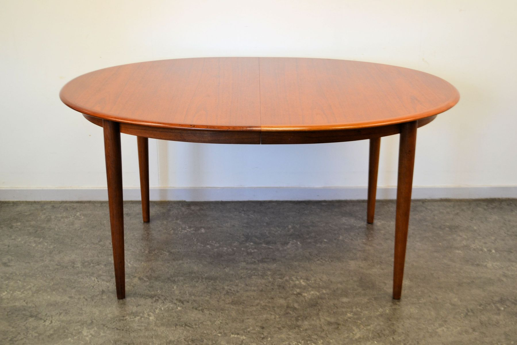 Mid Century Oval Extendable Teak Dining Table By Kai Kristiansen For
