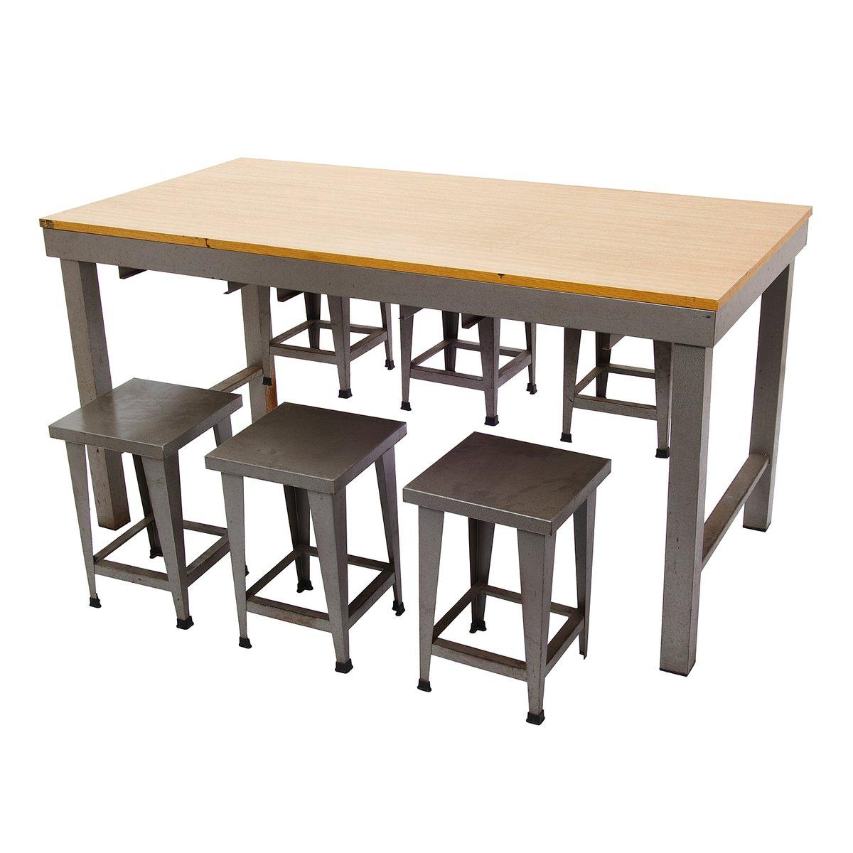 table industrielle vintage avec tabourets en vente sur pamono