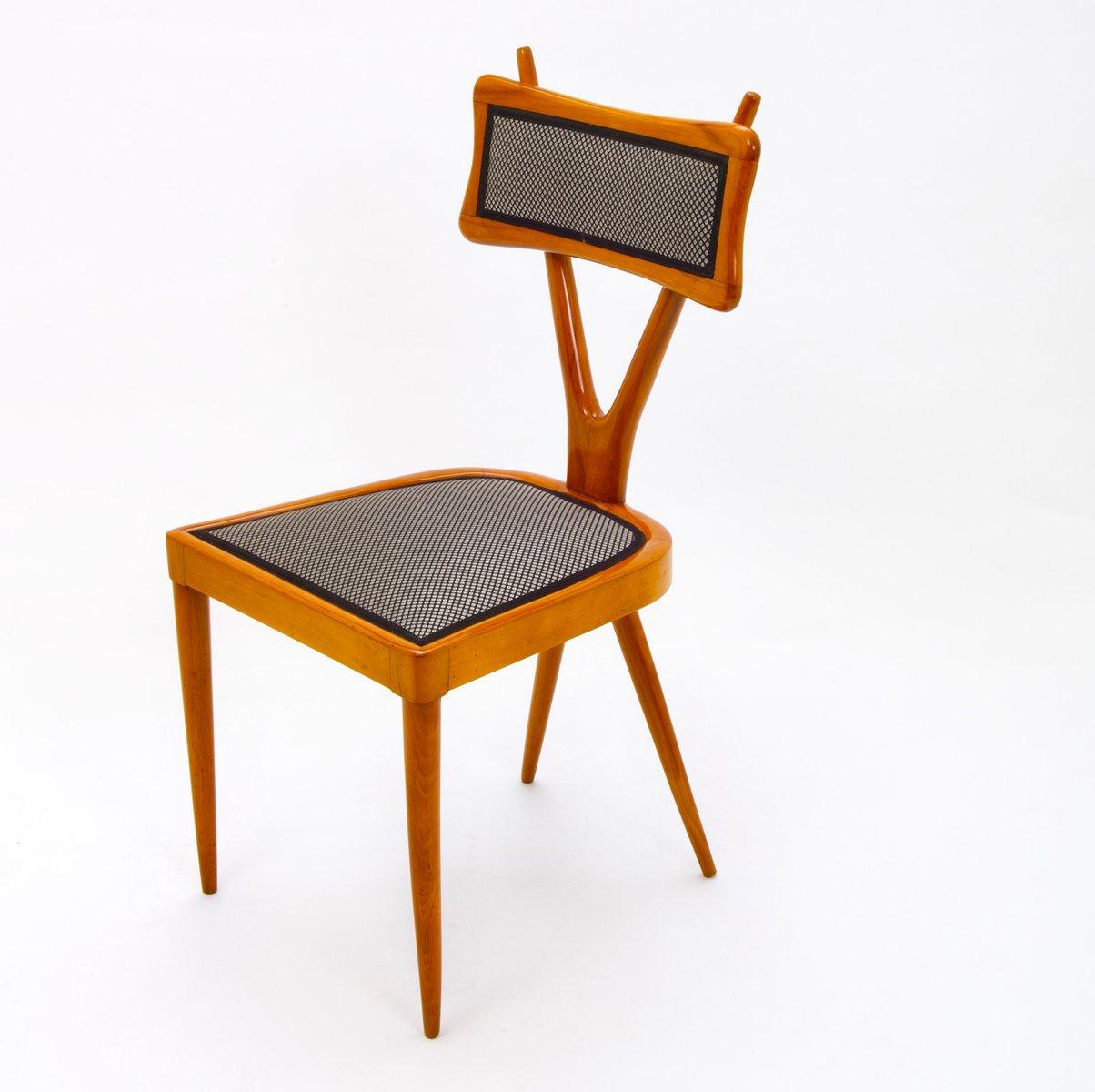 Delightful Italian Beech Dining Chairs, 1950s, Set Of 5