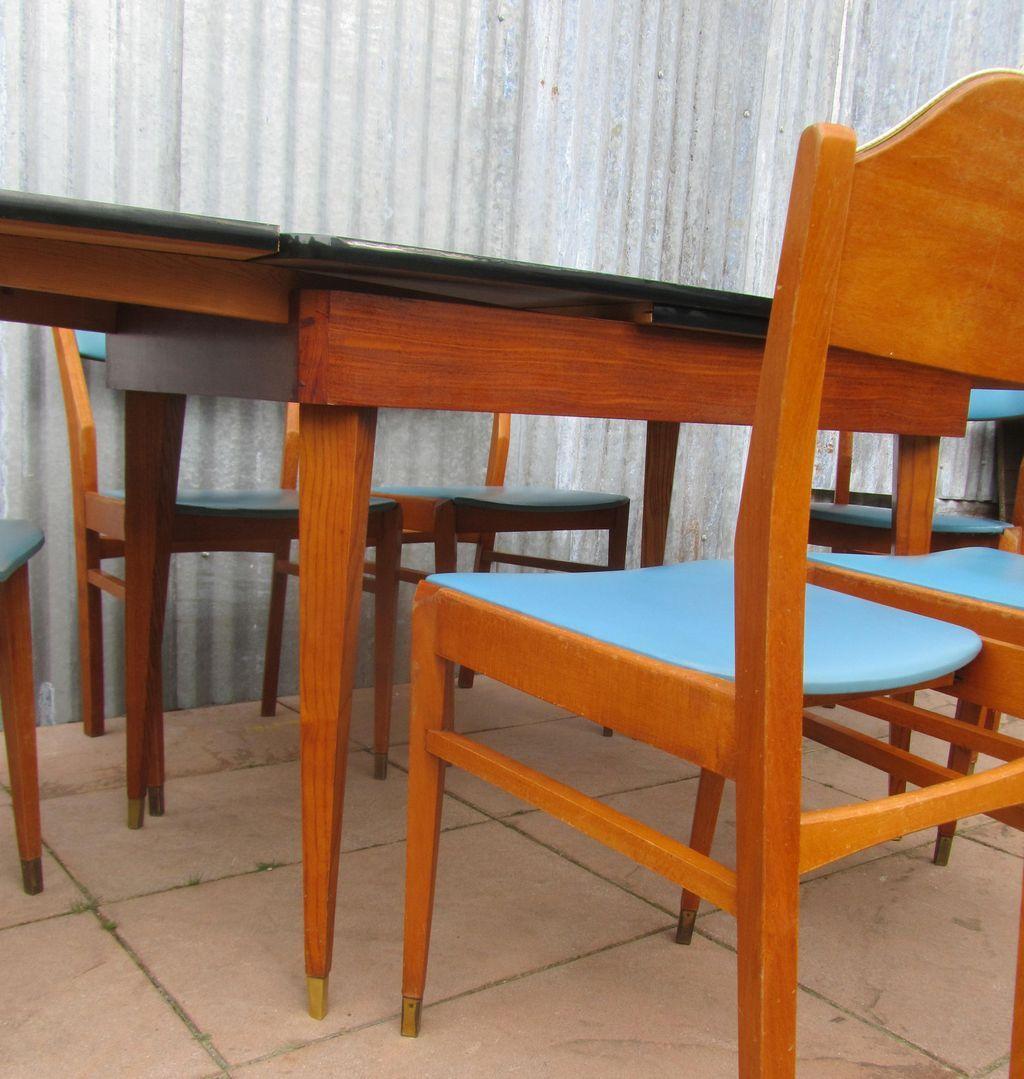 Set de salle manger mid century bleu b b en vente sur for Set de salle a manger