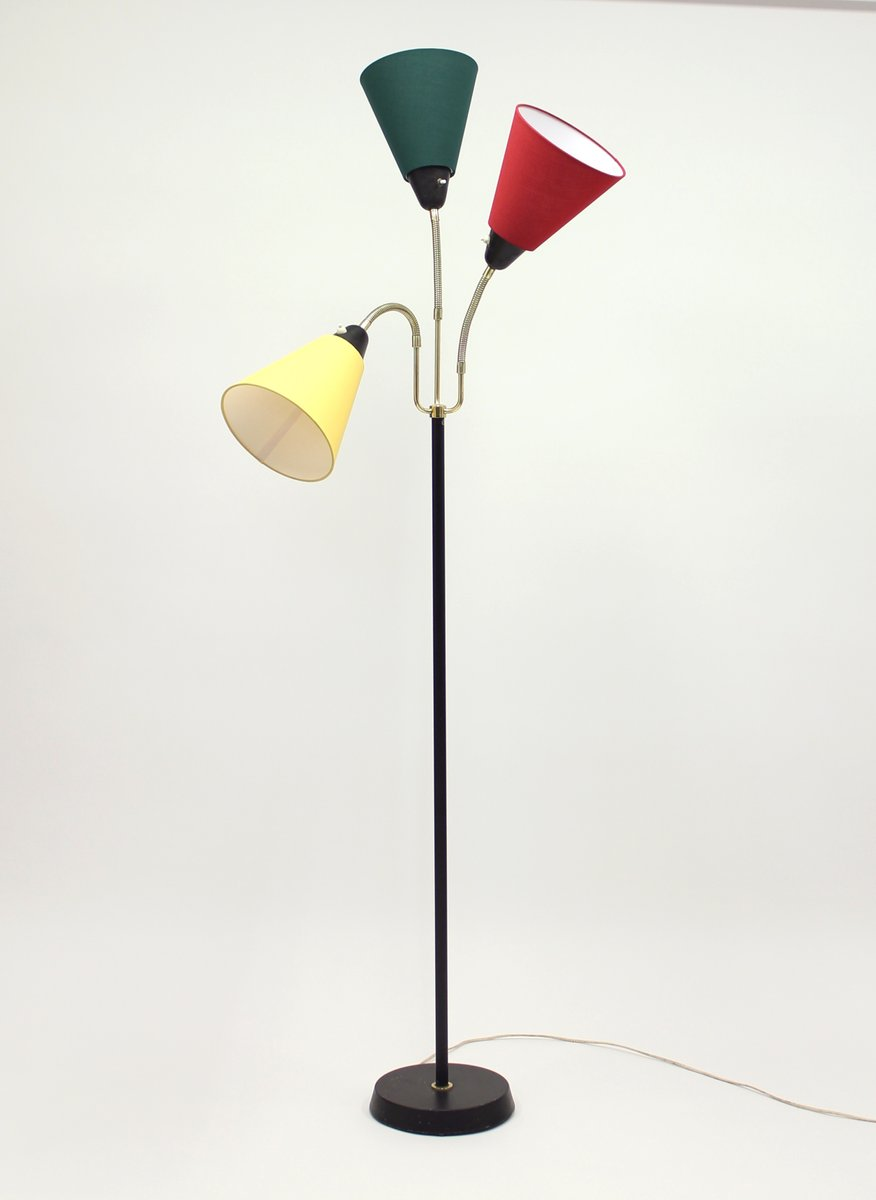 Perfect Mid Century Swedish Three Light Floor Lamp From AB Armaturhantverk