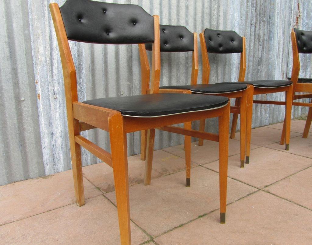 Mid century black vinyl dining chairs set of 4 for sale for Black dining chairs for sale