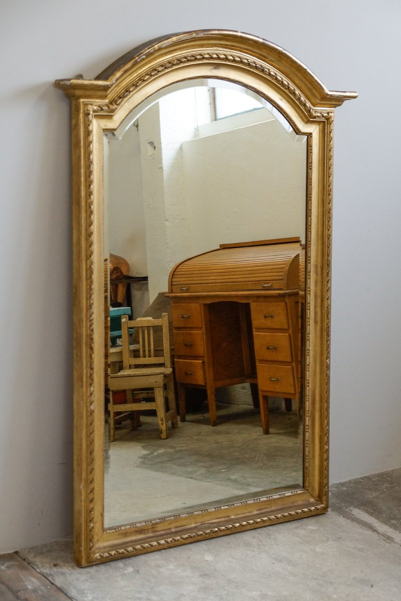 large french gilded stucco wall miror with round arch. Black Bedroom Furniture Sets. Home Design Ideas