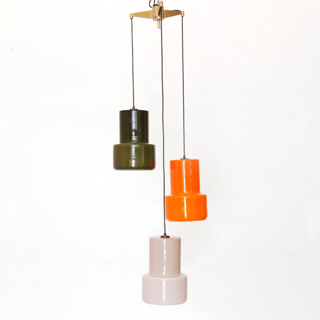 Italian Murano Glass Pendant Lamp From Vistosi 1950s For