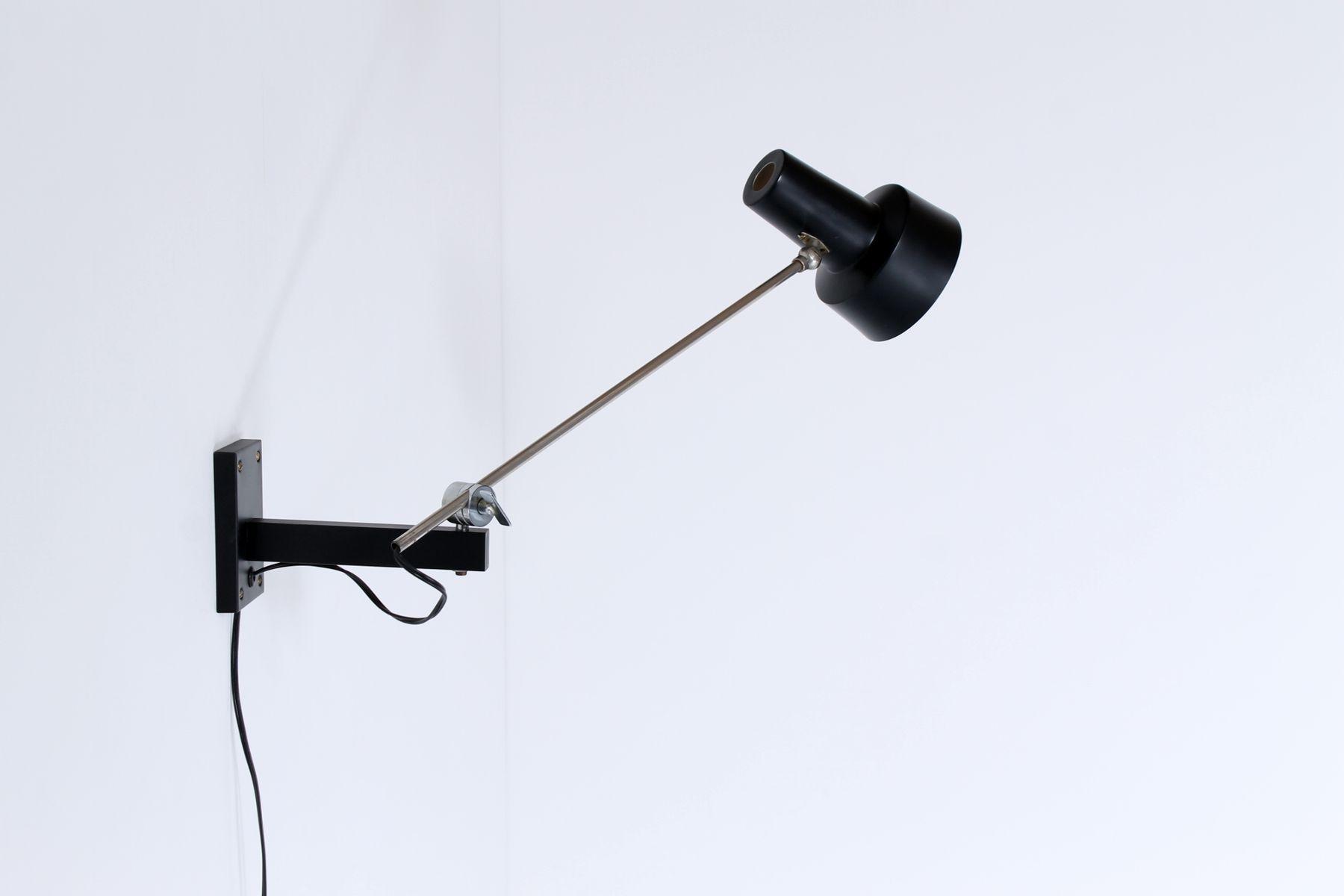 schwarze wandmontierte mid century lampe mit gegengewicht von hagoort bei pamono kaufen. Black Bedroom Furniture Sets. Home Design Ideas