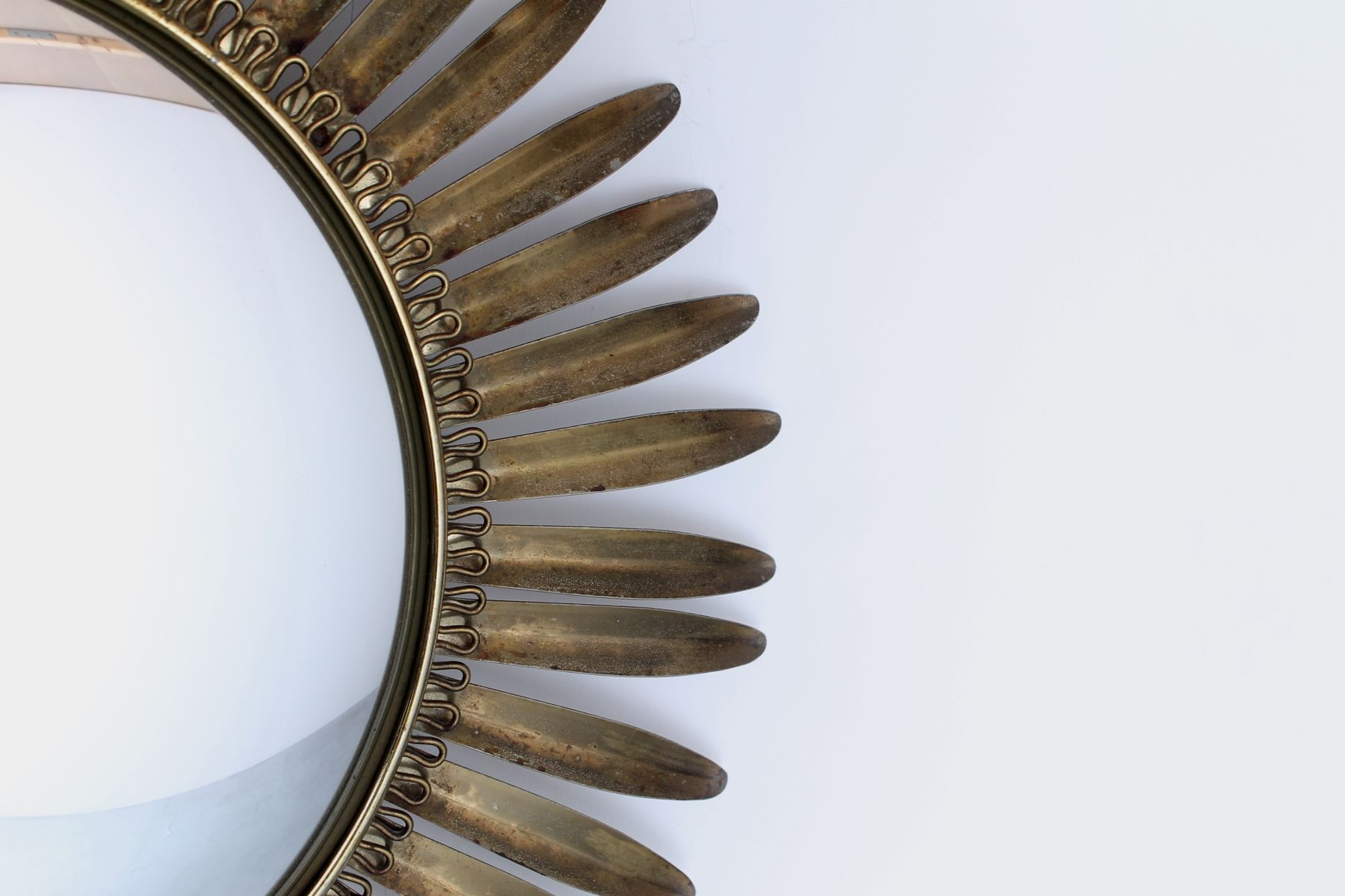 Vintage hollywood regency style brass sunburst convex for Convex mirror