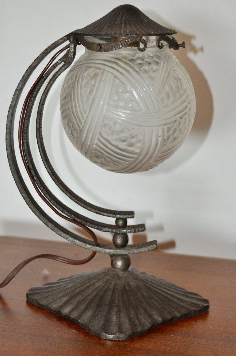 lampe de bureau vintage art d co en fer forg france set de 2 en vente sur pamono. Black Bedroom Furniture Sets. Home Design Ideas