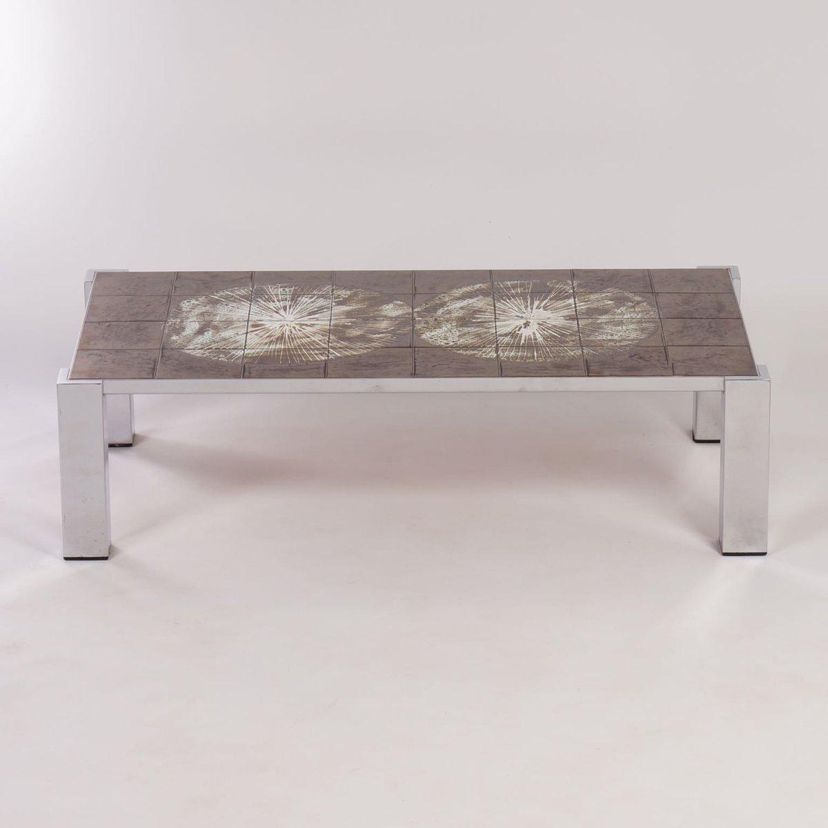 Table basse peinte la main carrel e par belarti 1960s - Table basse peinte ...