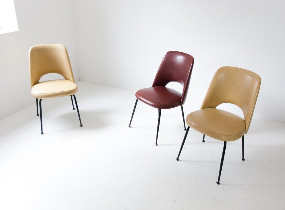 italienische gelbe mid century skai st hle 1950er 2er. Black Bedroom Furniture Sets. Home Design Ideas