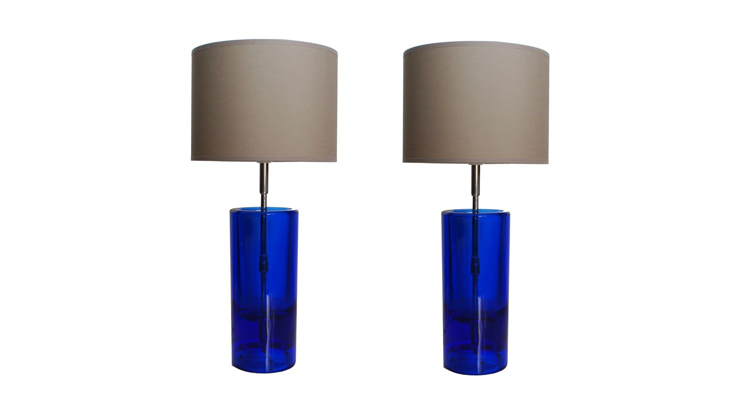 Small glass table lamps - Vintage Blue Glass Table Lamps By Daum Set Of 2