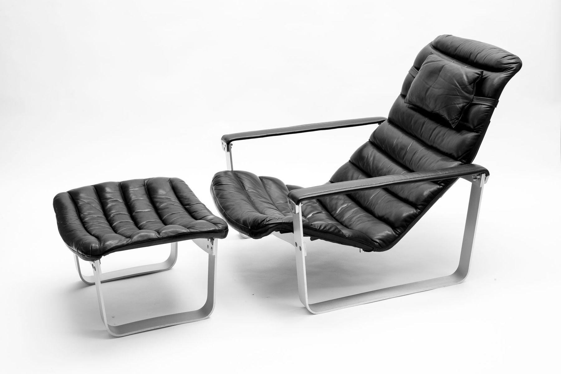 Finnish Pulkka Lounge Chair with Foot Stool by Ilmari Lappalainen