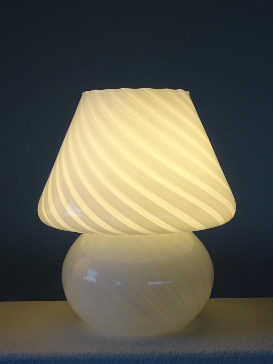 lampes champignons en verre tourbillon de murano set de 2. Black Bedroom Furniture Sets. Home Design Ideas