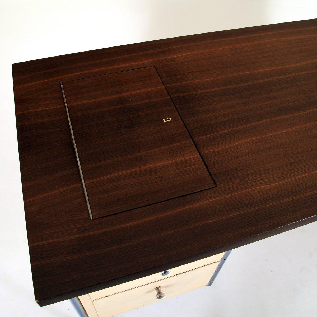 deutscher mid century schreibtisch mit stahlrohrrahmen bei. Black Bedroom Furniture Sets. Home Design Ideas