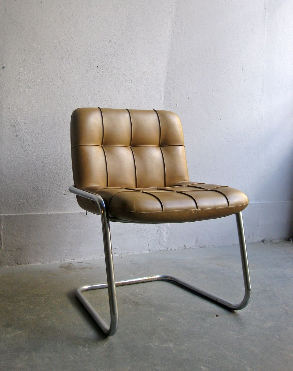 vintage cognac faux leather and chromed metal chair for. Black Bedroom Furniture Sets. Home Design Ideas
