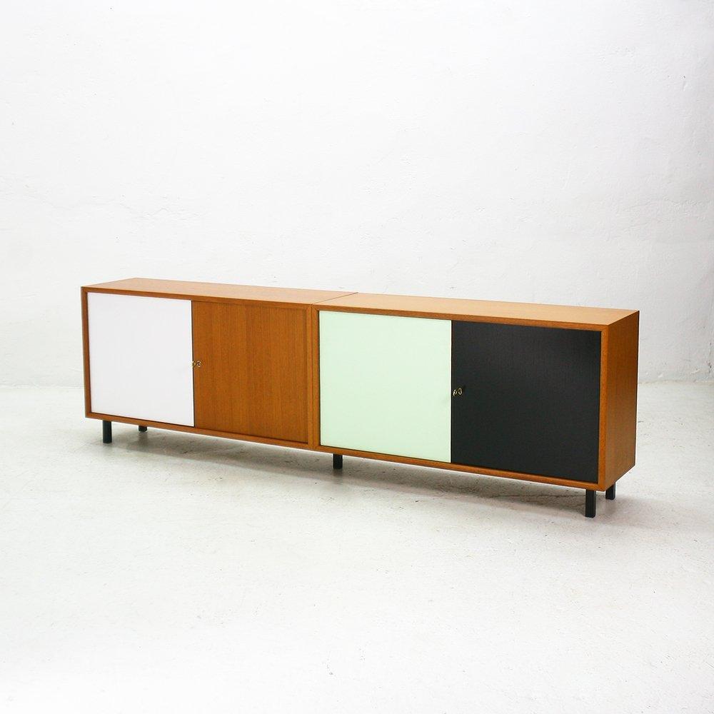 dreifarbiges deutsches teak sideboard von wk m bel 1960er. Black Bedroom Furniture Sets. Home Design Ideas