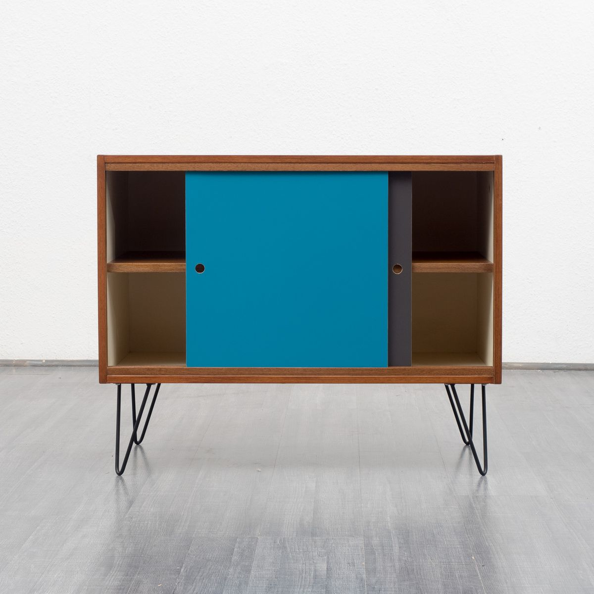 Sideboard with coloured fronts and sliding doors 1960s for Sideboard petrol