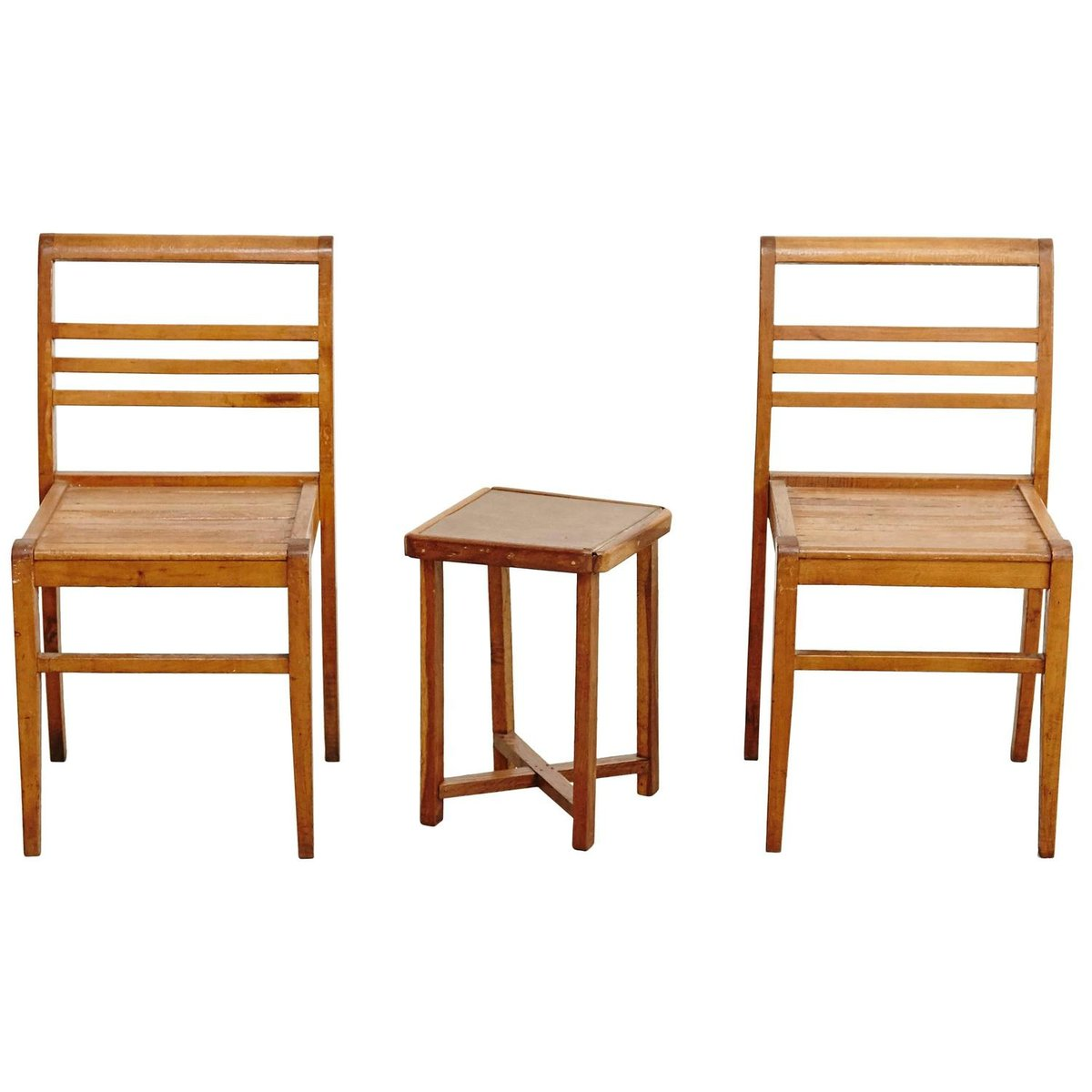 French Oak Chairs and Side Table by Rene Gabriel  1940s for sale at Pamono. French Oak Chairs and Side Table by Rene Gabriel  1940s for sale