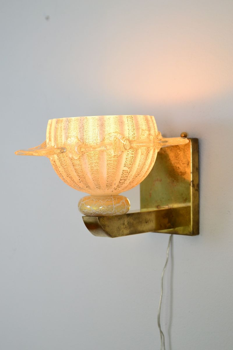 Murano Glass and Brass Sunburst Wall Lamps, 1970s, Set of 2 for sale at Pamono