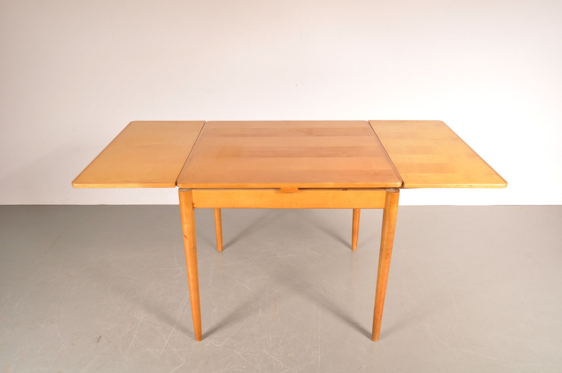 dutch square birch extendable dining table by cees