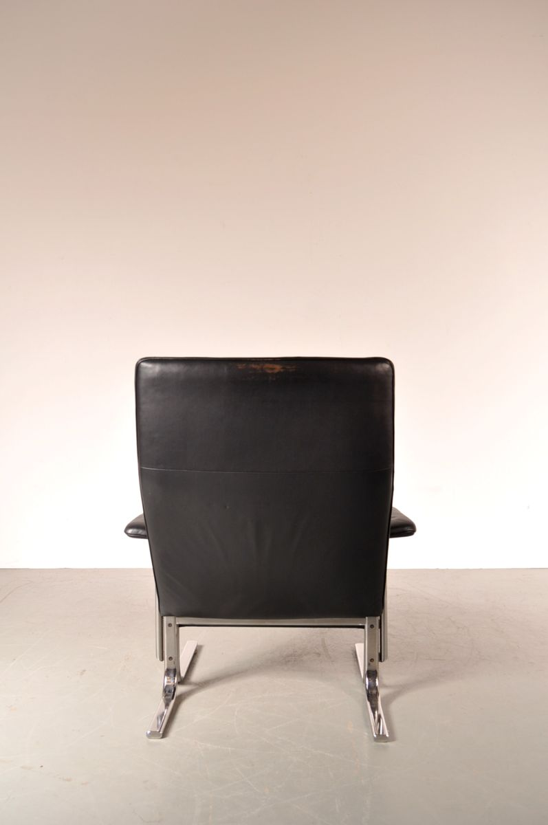 Swiss DS 2030 Leather and Chrome Easy Chair from De Sede 1960s