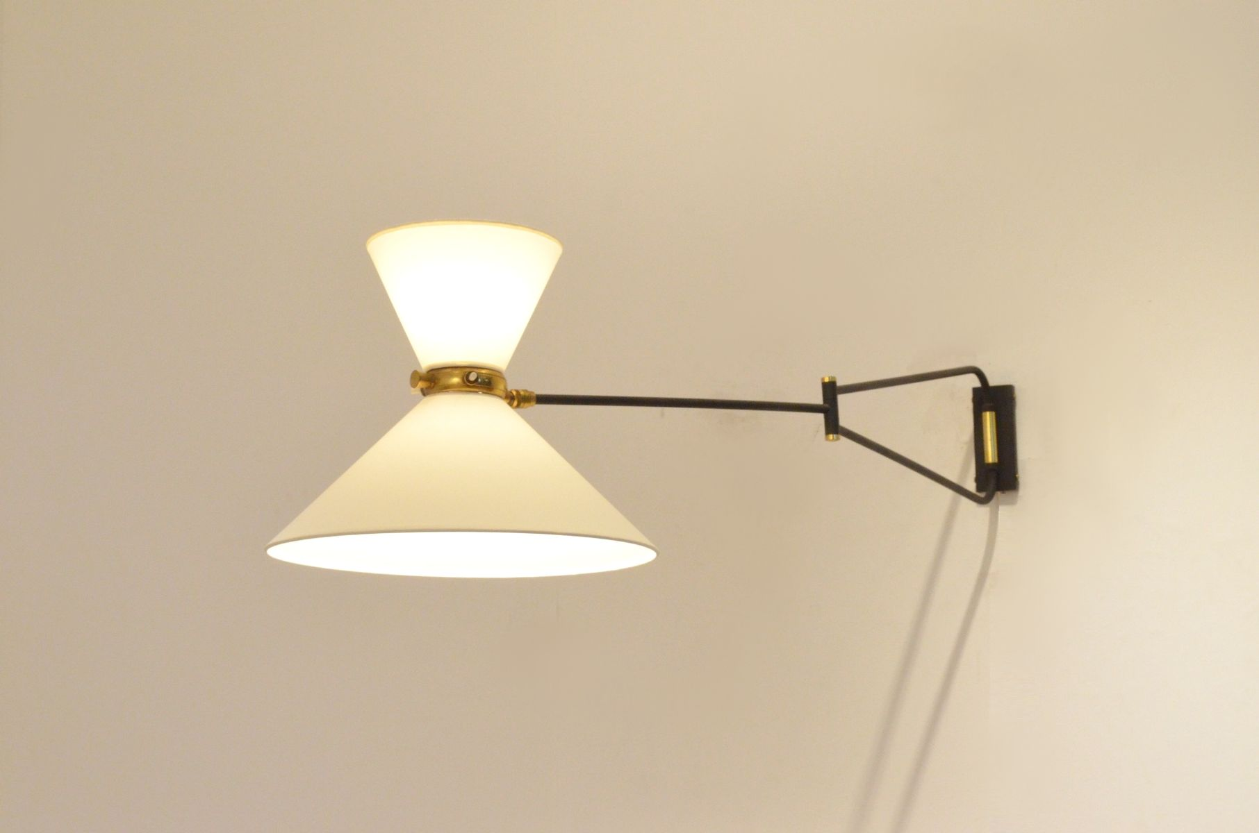 Wall Mounted Articulated Lamp : Large French Mid-Century Articulated Wall Lamp from Lunel for sale at Pamono