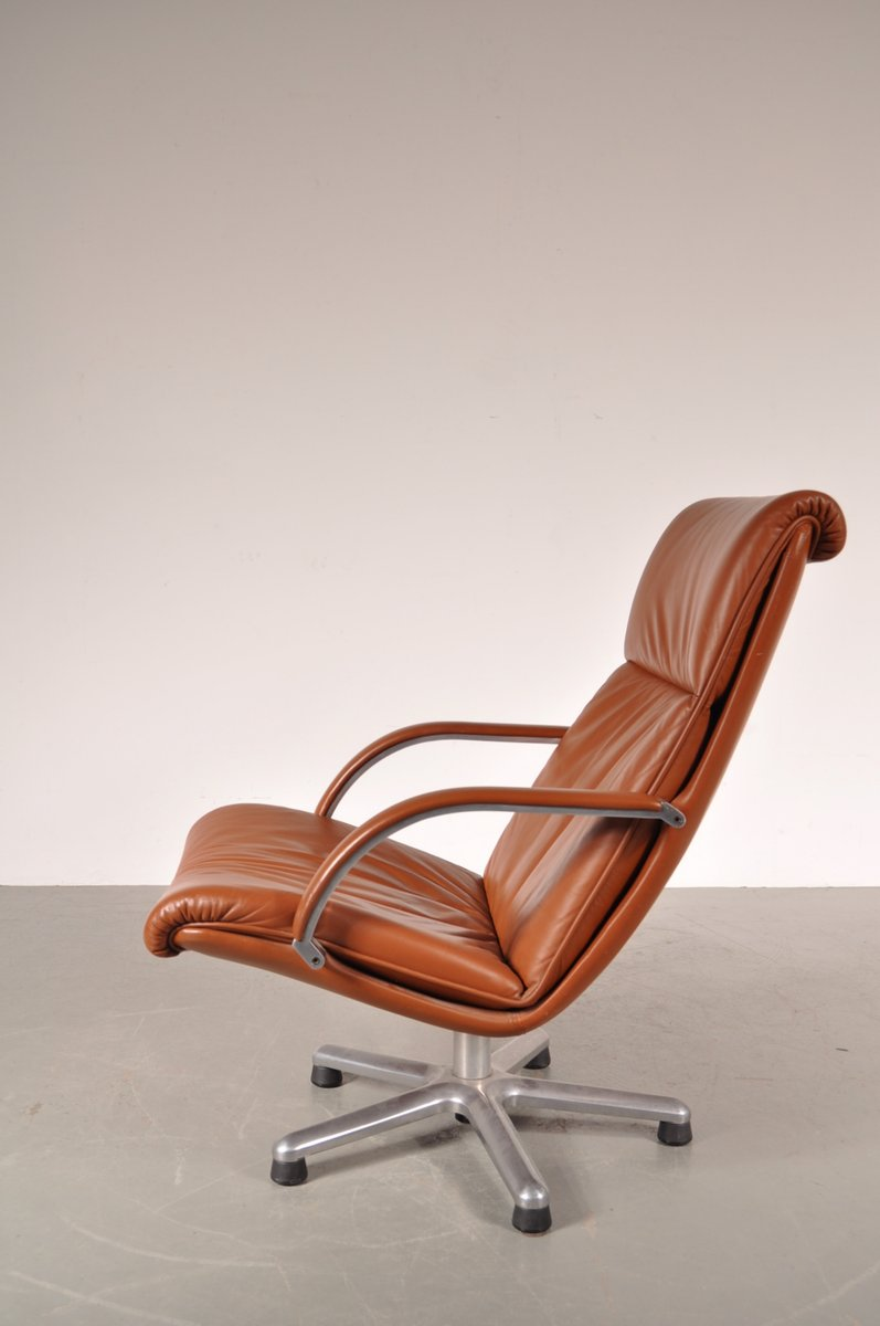 Dutch chrome and cognac leather easy chair by g harcourt for Dutch design chair uk