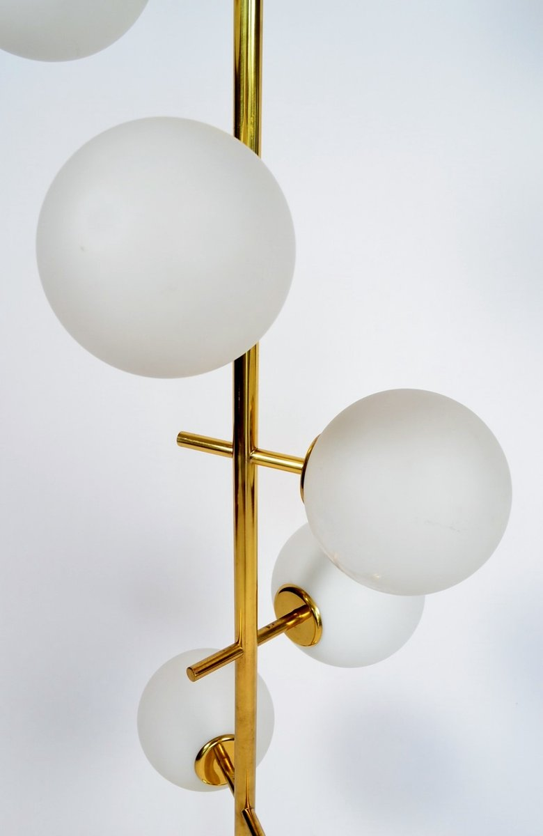 swiss brass and frosted glass globes floor lamp from temde 1970s for. Black Bedroom Furniture Sets. Home Design Ideas