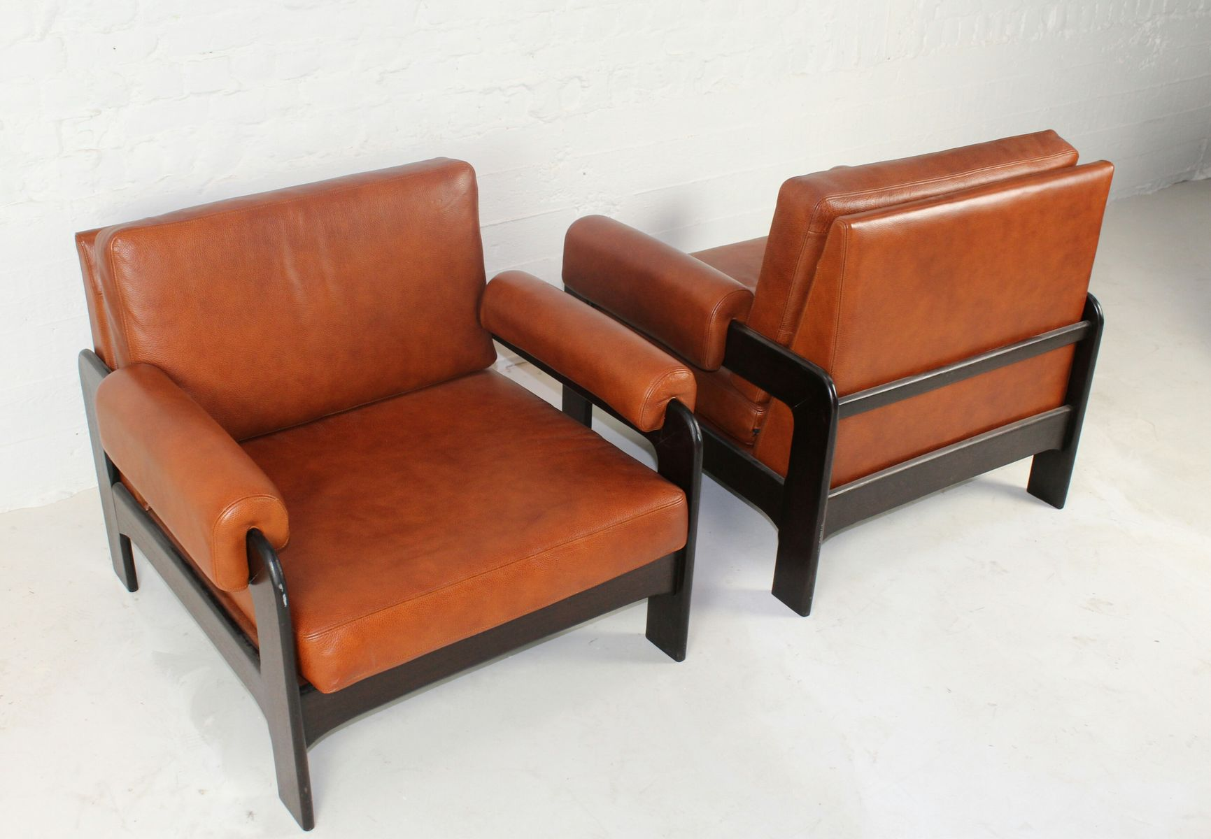 midcentury cognac leather armchairs set of  for sale at pamono - price  regular price