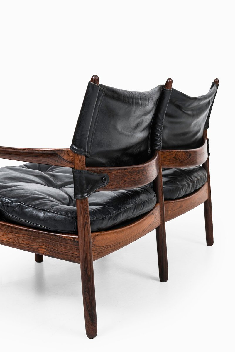 Rosewood And Black Leather Sofa By Gunnar Myrstrand For K Llemo For Sale At Pamono