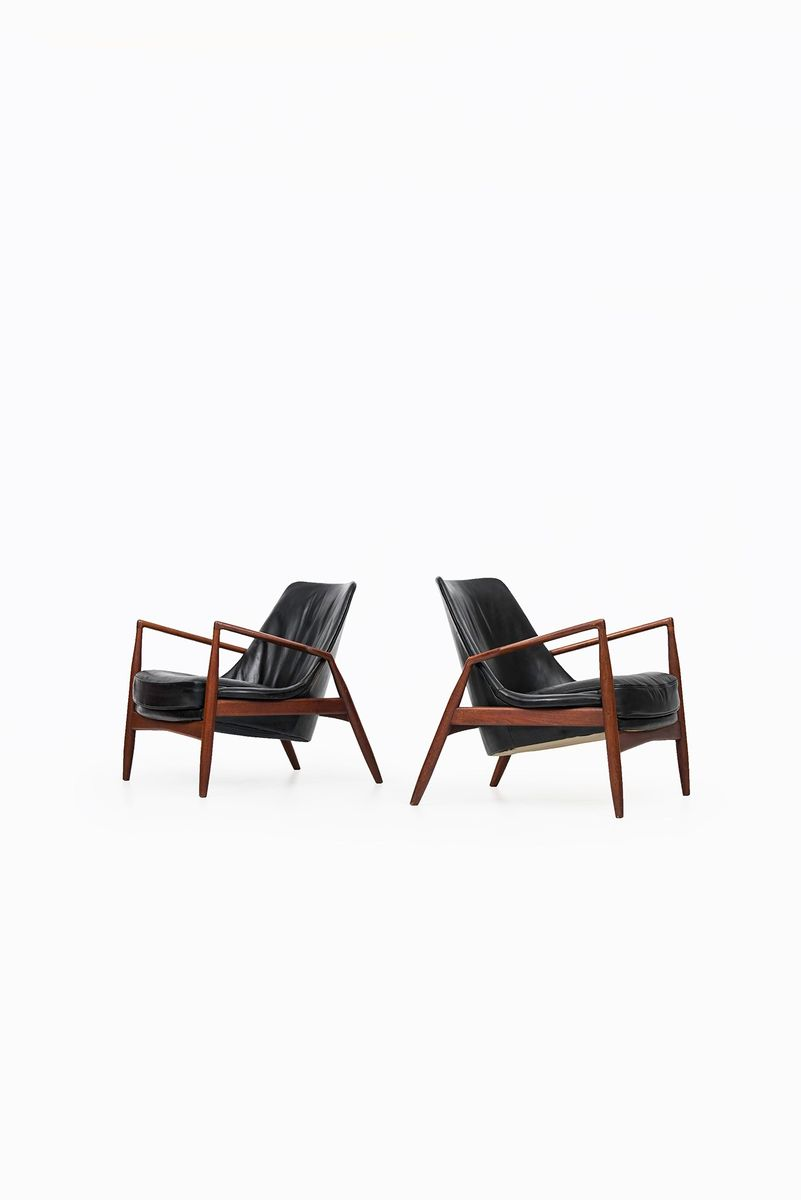 Charming Swedish Seal Easy Chairs By Ib Kofod Larsen For OPE, 1950s, Set Of 2