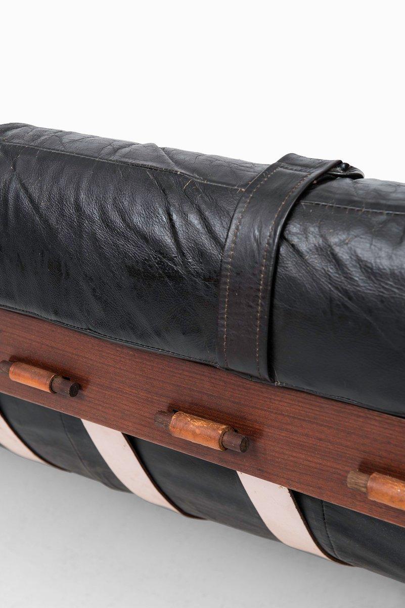 schwarzes ledersofa von percival lafer f r lafer mp. Black Bedroom Furniture Sets. Home Design Ideas