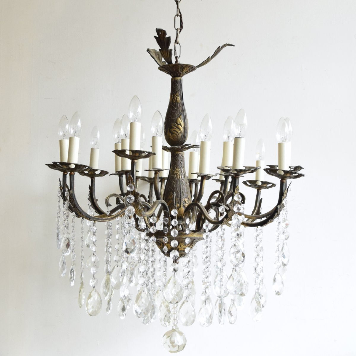 - Large Vintage French 16-Light Brass Chandelier For Sale At Pamono
