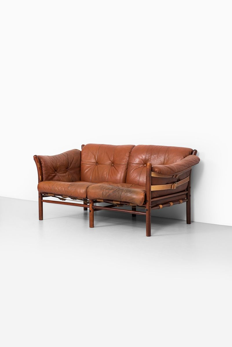 Brown red ilona sofa by arne norell for arne norell ab for for Red and brown sectional sofa