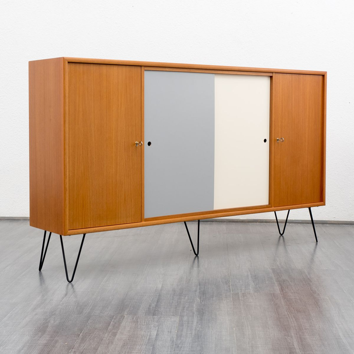 Teak sideboard with colored fronts 1960s for sale at pamono for Sideboard petrol