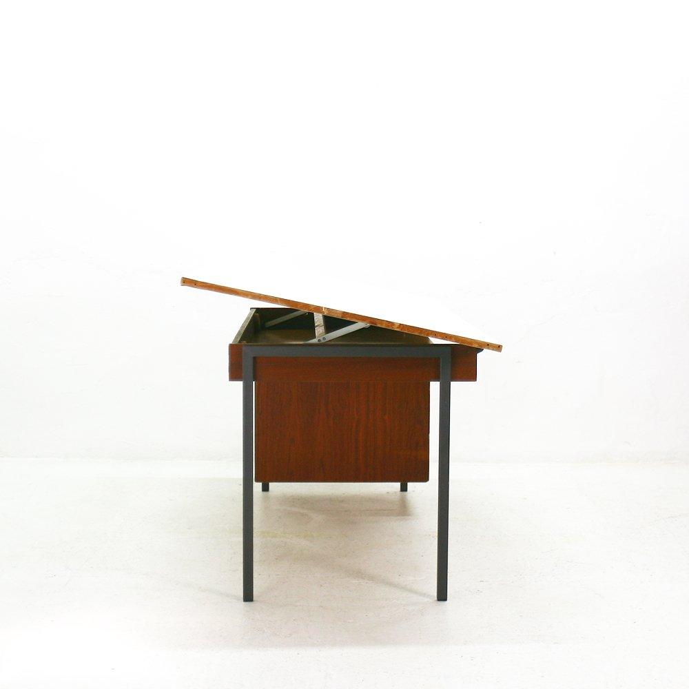 teak architekten schreibtisch mit schwenkbarer tischplatte. Black Bedroom Furniture Sets. Home Design Ideas