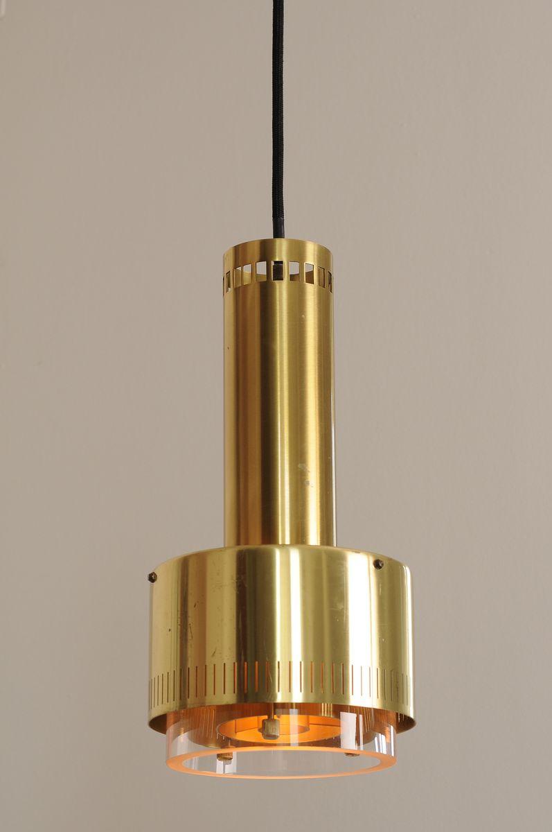 Metal And Glass Pendant Light By Kay Korbing For Lyfa For